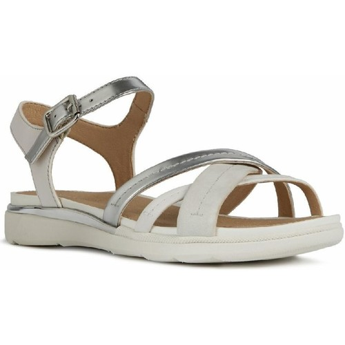 Shoes Women Sandals Geox D02GZA-0BN85-C0434 D Sandal Hiver A Silver and White