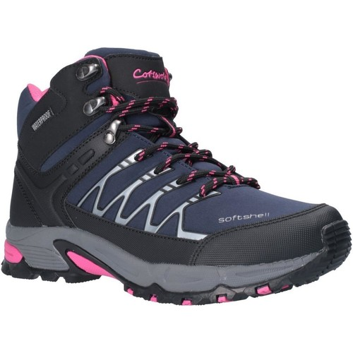 Shoes Women Walking shoes Cotswold Abbeydale Mid Navy and Black and Fuchsia