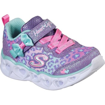 Shoes Girl Low top trainers Skechers 302088N-LVAQ-21 Heart Lights Lavender and Aqua