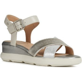 Shoes Women Sandals Geox D02GUD-0CF85-C0628 D Pisa D Silver and Off White