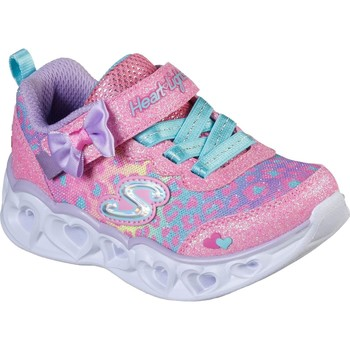 Shoes Girl Low top trainers Skechers 302088N-HPMT-21 Heart Lights Hot Pink and Turquoise and Lavender