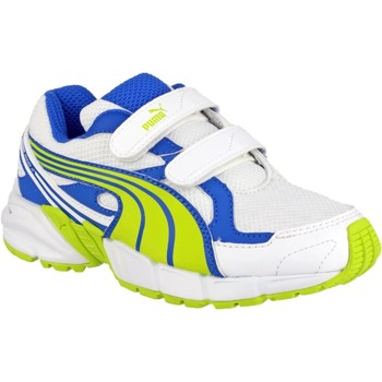 Shoes Boy Fitness / Training Puma Axis Mesh V2 Trainers Lime and Blue and White