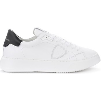 Shoes Men Low top trainers Philippe Model Sneaker Temple L in pelle bianca con spoiler nero White