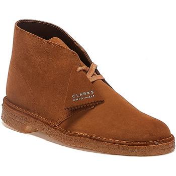 Shoes Men Mid boots Clarks Desert Trek Suede Mens Cola Boots Dark Brown