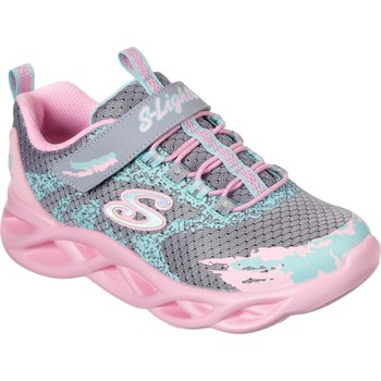 Shoes Girl Multisport shoes Skechers 302301L-GYPK-27 S Lights Twisty Brights Grey and Pink