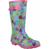 Shoes Girl Wellington boots Cotswold Button Heart Wellingtons Blue and Multi
