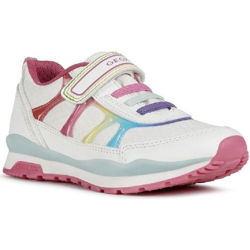 Shoes Girl Low top trainers Geox J028CA-054AS-C0653 J Pavel Girl A White and Multicolor