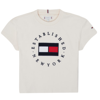 Clothing Girl Short-sleeved t-shirts Tommy Hilfiger KG0KG05503-Z00-J Beige