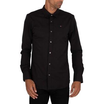 Clothing Men Long-sleeved shirts Tommy Jeans Original Stretch Slim Shirt black