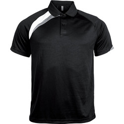 Clothing Men Short-sleeved polo shirts Proact Polo manches courtes  Sport noir/blanc/gris clair
