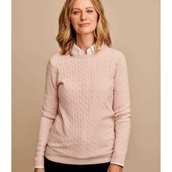 Clothing Women Jumpers Woolovers Cashmere Merino Cable Crew Neck Jumper Pink