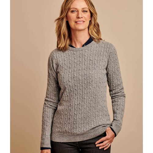 Clothing Women Jumpers Woolovers Cashmere Merino Cable Crew Neck Jumper Grey