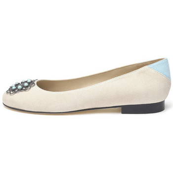 Shoes Women Flat shoes Susana Cabrera Marta Beige with blue detail