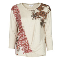 Clothing Women Long sleeved tee-shirts Desigual OPORTO Beige