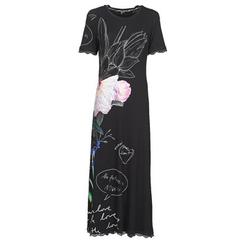 Clothing Women Long Dresses Desigual FLOR Black