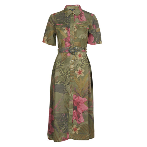 Clothing Women Long Dresses Desigual ANGELA Kaki