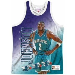 Clothing Men Tops / Sleeveless T-shirts Mitchell And Ness Nba Behind The Back Tank Charlotte Hornets Larry Johnson Blue,Violet