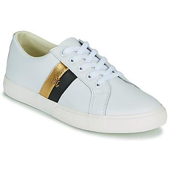 Shoes Women Low top trainers Lauren Ralph Lauren JANSON II White / Gold