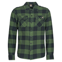 Clothing Men Long-sleeved shirts Dickies NEW SACRAMENTO SHIRT PINE GREEN Kaki / Black