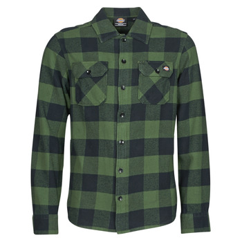 Clothing Men Long-sleeved shirts Dickies NEW SACRAMENTO SHIRT PINE GREEN Kaki / Black