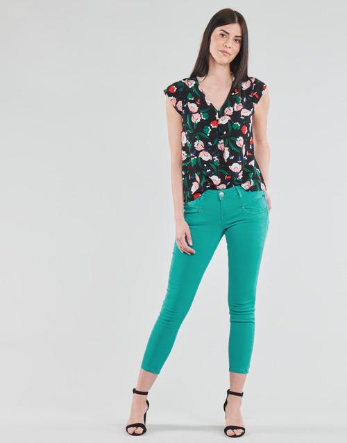 Clothing Women 5-pocket trousers Freeman T.Porter ALEXA CROPPED NEW MAGIC COLOR Viridian / Green