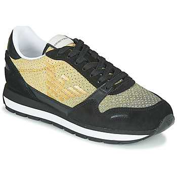 Shoes Women Low top trainers Emporio Armani AMERI Black / Gold / Silver