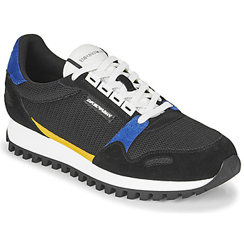 Shoes Men Low top trainers Emporio Armani CRETA Black / Blue / Yellow