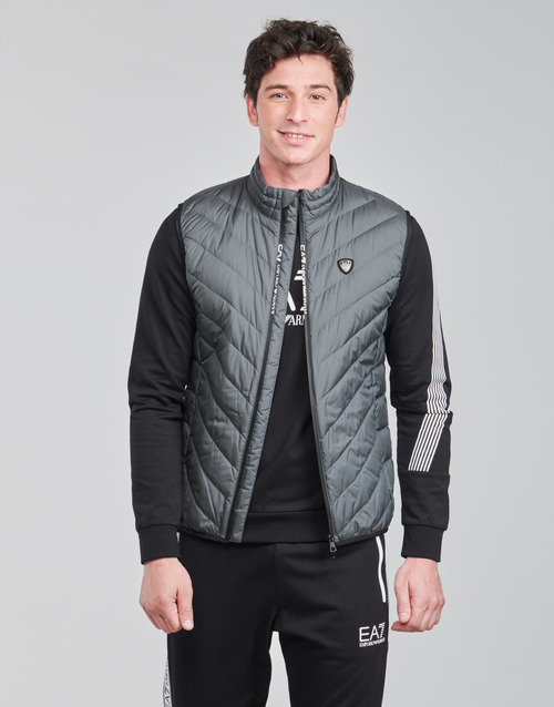 Clothing Men Duffel coats Emporio Armani EA7 TRAIN CORE SHIELD M DOWN LIGHT VEST Grey