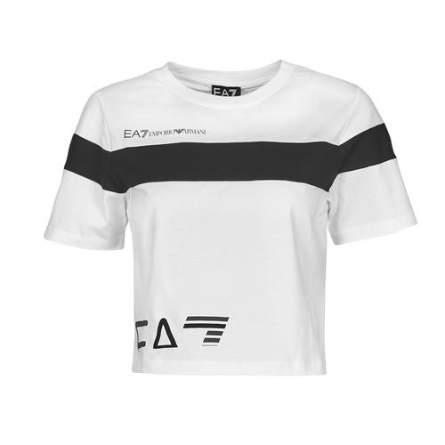 Clothing Women Short-sleeved t-shirts Emporio Armani EA7 3KTT05-TJ9ZZ-1100 White / Black