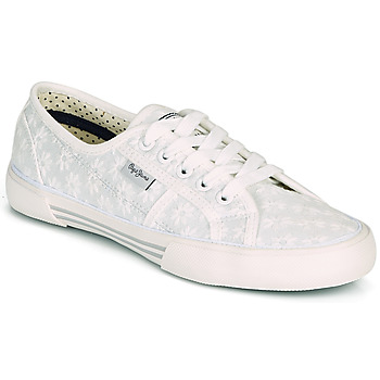Shoes Women Low top trainers Pepe jeans ABERLADY LACE White