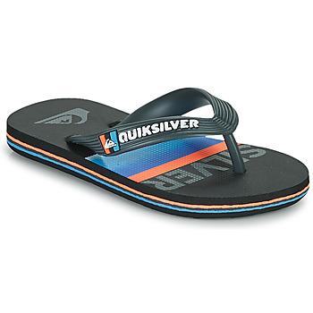 Shoes Children Flip flops Quiksilver MOLOKAI SLAB YOUTH Black / Blue