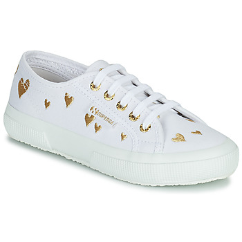 Shoes Children Low top trainers Superga 2750 COTJEMBROIDERY LAMEHEARTS White / Gold