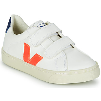 Shoes Boy Low top trainers Veja SMALL ESPLAR VELCRO White / Orange / Blue
