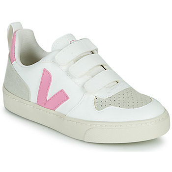 Shoes Girl Low top trainers Veja SMALL V-10 VELCRO White / Pink