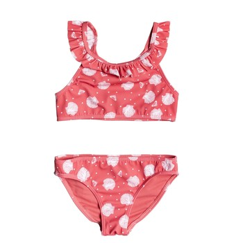 Clothing Girl Bikinis Roxy TEENY EVERGLOW CROP TOP SET Pink