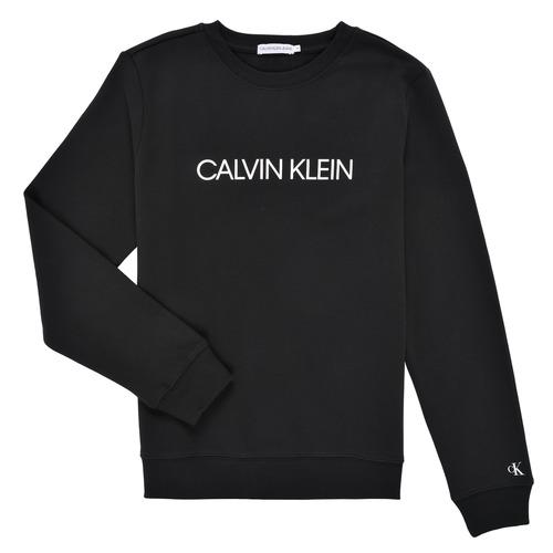 Clothing Children Sweaters Calvin Klein Jeans INSTITUTIONAL LOGO SWEATSHIRT Black