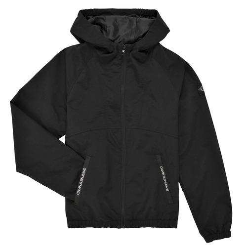 Clothing Boy Jackets Calvin Klein Jeans MONOGRAM BADGE JACKET Black