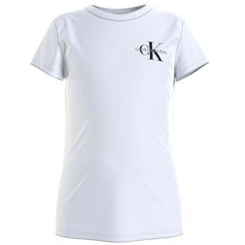 Clothing Girl Short-sleeved t-shirts Calvin Klein Jeans CHEST MONOGRAM TOP White