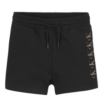 Clothing Girl Shorts / Bermudas Calvin Klein Jeans CK REPEAT FOIL KNIT SHORTS Black