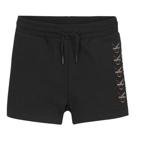 Clothing Girl Shorts / Bermudas Calvin Klein Jeans CK REPEAT FOIL KNIT SHORTS Black