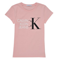 Clothing Girl Short-sleeved t-shirts Calvin Klein Jeans HYBRID LOGO SLIM T-SHIRT Pink