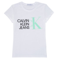 Clothing Girl Short-sleeved t-shirts Calvin Klein Jeans HYBRID LOGO SLIM T-SHIRT White