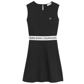Clothing Girl Short Dresses Calvin Klein Jeans LOGO TAPE PUNTO SLEEVELESS DRESS Black