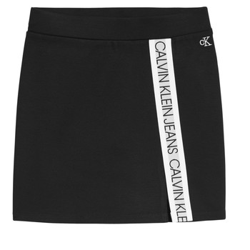 Clothing Girl Skirts Calvin Klein Jeans LOGO TAPE PUNTO SKIRT Black