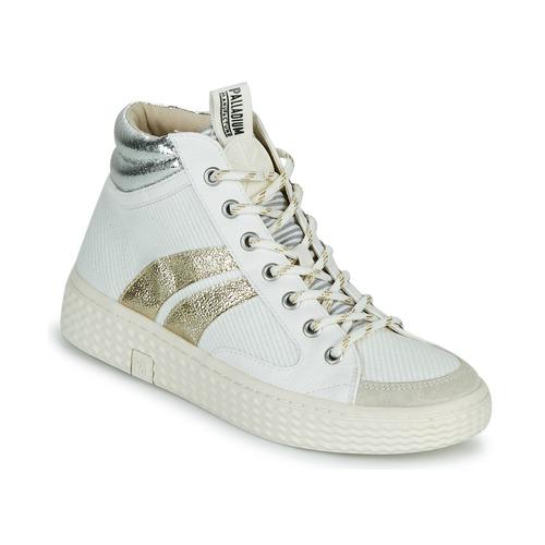 Shoes Women Hi top trainers Palladium Manufacture TEMPO 03 TXT White