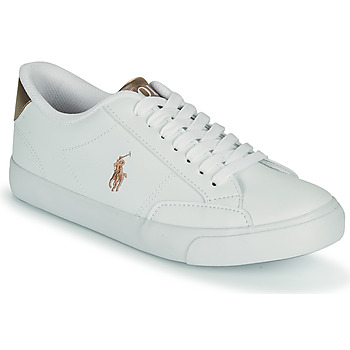 Shoes Girl Low top trainers Polo Ralph Lauren THERON IV White / Pink / Gold
