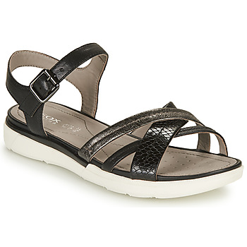 Shoes Women Sandals Geox D SANDAL HIVER A Black / Silver