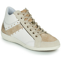 Shoes Women Hi top trainers Geox D MYRIA G White / Beige