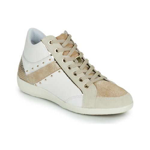 Shoes Women Hi top trainers Geox D MYRIA G White / Beige