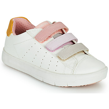 Shoes Girl Low top trainers Geox SILENEX GIRL White / Pink / Beige
